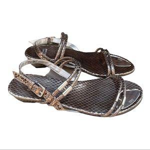 Stuart Weitzman Silver Metallic Snakeskin Sandals